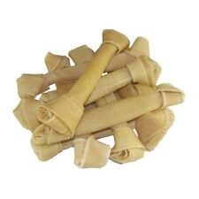 "10 RAWHIDE Knotted ossa 12 "" - 12.5"" Nascondi DOG Chew Dental kNOT NATURAL trattare NUOVO"
