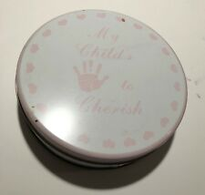 "My Child's To Cherish Plaster Hand Cast Kit Handprint Keepsake 6"" pink Tin baby"