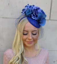 babd855fcb535 Royal Blue Orchid Rose Sinamay Birdcage Veil Flower Fascinator Hat Races  5930
