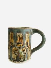 Signed Ceramic Hand Thrown Artisan Art Pottery Coffee Mug Cup Fish