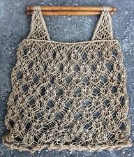 Vintage 60s 70s Macrame Natural String Tote Shopper Bag Wooden Handles Retro