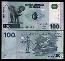 CONGO DR.100 FRANCS P92 2000 ELEPHANT DAM Double Prefix UNC Animal Money NOTE