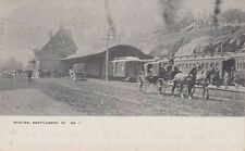 RAILROAD STATION Showing TWO TRAINS ~ BRATTLEBORO, VERMONT ~ 1907 BEAUTY82