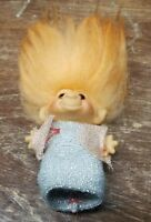 "1960s DAM Troll Doll Original Amber Eyes Orange Hair 2.5"" Silver Pink Dress"
