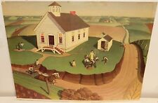 """GRANT WOOD """"ARBOR DAY"""" VINTAGE COLOR PRINT DATED 1938"""