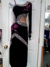 Black Fringe Latin Mix Crystals Ballroom Dance Dress .Size Sm - Med.( 6-8)