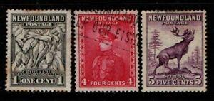 Canada Newfoundland 1932 1938 1c, 4c, 5c SG222, 224-25 Used