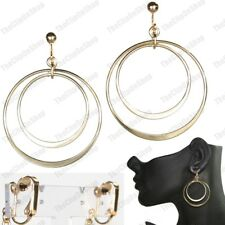 """CLIP ON 2""""long earrings 4cm HOOPS double hoop GOLD FASHION CLIPS retro circle"""