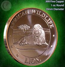"""African Wildlife """"Lion"""" 1 oz .999 Copper Round"""