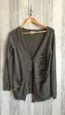 River Island Womens Grey Wool Blend Cardigan Embroidered Vintage Style Size 10