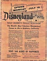 DISNEYLAND, WALT DISNEY'S MAGIC KINGDOM OPENS MONDAY JULY 8 PRINT