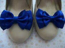 NEW PAIR ROYAL BLUE SATIN FABRIC BOW SHOE CLIPS 50s VINTAGE STYLE GLAMOUR BOWS