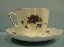 Antique China Cup & Saucer By Victoria Cartwright & Edwards - Purple Violet #340