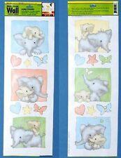 2 PLANCHES 18 ADHESIFS DECORS STICKERS bébés éléphants
