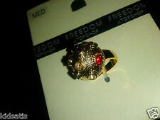 Ladies Fab Topshop Size Medium Gold Plated Rhinestone Circle Ring £25 Super Gift