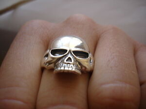 Sterling Silver 925 skull ring Biker jewellery chopper all size Keith Richards