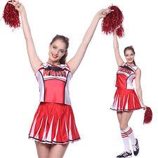 Ladies Girls Glee Style School Musical Cheerios Cheerleader Costume w/ Pom Poms