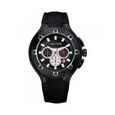 Reloj De Hombre NAUTICA NCS 100 A37005G Chrono Cuero Negro Diver Sub 100mt