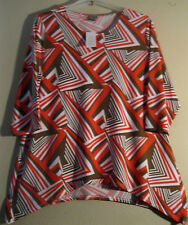 Chico's XL 3 Blouse New With Tags Red Brown White STYLISH SHARK BITE HEM!