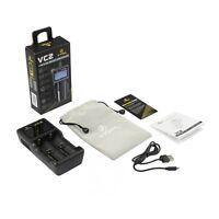 XTAR VC2 Ladegerät 2-Schacht incl.USB Kabel für Li-Ion Akkus 18650 20700 26650