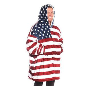 New Soft Oversized Sherpa Fleece Hoodie Blanket  American USA Stars And Stripes