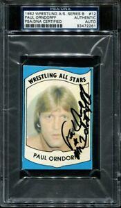 1982 Wrestling All Stars Paul Oorndorff Auto PSA DNA Certified Series B #12