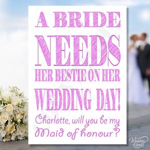 Will you be my Maid of honour Card Bridesmaid Cards Bestie Matron Invite Wedding