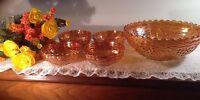 Vtg Imperial Carnival Glass Iridescent Marigold Grape Scalloped Salad Bowls Set