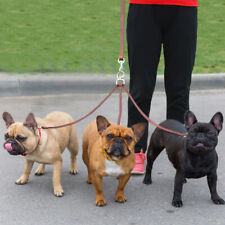 3 Way Triple Leather Dog Coupler Leads Leash with Handle for Three 3 Dogs Walk