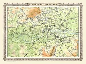 Eisenbahn Karte Von London 1898 1000 Teile Puzzle ( Jg )