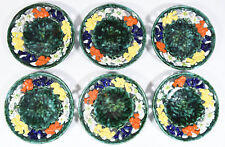 """Set of 6 Vintage Austrian 8"""" Folk Plates - Hand Painted Eidelweiss Reticulated"""