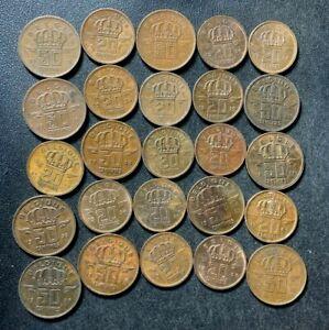 Vintage Belgium Coin Lot - 1953-1966 - Bronze Types - 25 Coins - LOT #J14
