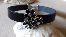 Lederarmband schwarz mit Slider Blüten Handarbeit, Länge individuell bis 23 cm