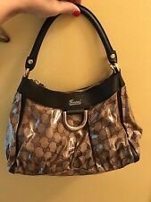 Gucci D Ring Crystal Canvas Hobo Bag Brown Monogram ~ 265692