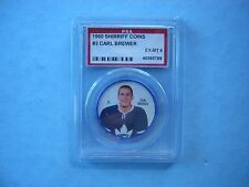 1960/61 SHIRRIFF PLASTIC NHL HOCKEY COIN #3 CARL BREWER EXMT PSA 6 SHARP!! 60/61
