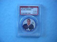 1960/61 SHIRRIFF PLASTIC NHL HOCKEY COIN #3 CARL BREWER EXMT PSA 6 SHARP!! 60/61