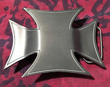 BIG IRON CROSS BELT BUCKLE NEW HOLDS LIGHTER