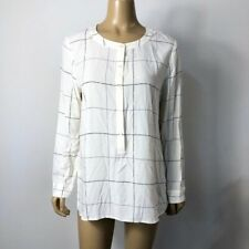J. Jill Women's Line Check Print Popover Partial Button Down Blouse Size Medium