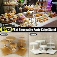 6Pcs Set Crystal Metal Cake Holder Cupcake Stand Wedding Birthday Party Display