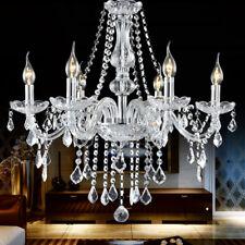 E12 Elegant Crystal Candle Decoration Chandelier Pendant Ceiling Light 6 Lamp US
