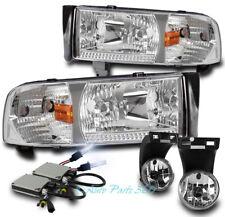 94-01 DODGE RAM PICKUP TRUCK CHROME CRYSTAL HEAD LIGHTS W/BUMPER FOG LAMP+8K HID