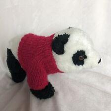 "Aurora World Red Sweater Soccer Ball Embroidered Panda Plush Stuffed Animal 11"""