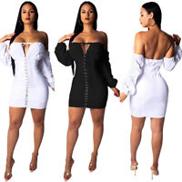 ❤Women Boat Neck Off Shoulder Puff Sleeve Lace Up Bodycon Night Club Mini Dress❤