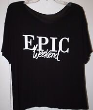 "BLACK SHORT SLEEVED T-SHIRT ""EPIC WEEKEND"" - Size XL"