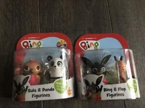 BNIP Bing Cbeebies Toys Figures Pack X2 New Bing Floppy Pando & Sula Free Postag