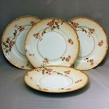 "Sale! 4 Haviland Limoges Cabinet Plates Hand Painted Flowers Gold 8 1/2""y"