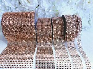 Rose Gold Diamante Effect RibbonTrim Wedding Cake Mesh Wrap Bling Art & Craft