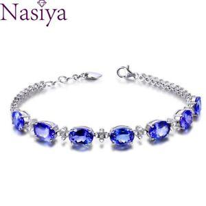 Luxury 925 Silver Bracelets Woman Blue Sapphire Gemstone Wedding Jewelry Gifts