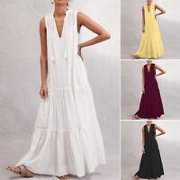 ZANZEA Damen Ärmellos V Neck Kleid Sommerkleid Plain Maxi Beach Freizeit Kleider