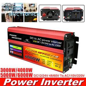 3000W-6000W Peak Power Solar Inverter 12/24/48/60V DC To 110/220V AC ConverterUS